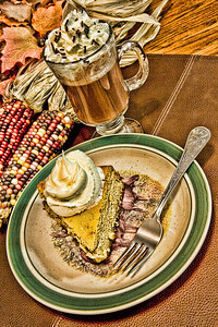 """Creative Challenge 2: Thanksgiving: """"Thanksgiving Delight""""  What I did on Thanksgiving, lots of dessert!  And for all of you moose lovers, yes the cheesecake is sitting on a moose plate, and was eaten with a moose fork!"""